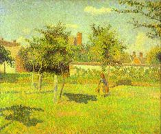 Woman in an Orchard, Spring Sunshine in a Field, Eragny, Oil On Canvas by Camille Pissarro (1830-1903, Virgin Islands)