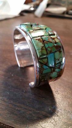 Royston Turquoise women's inlay bracelet $450  Artist: Davida Lister