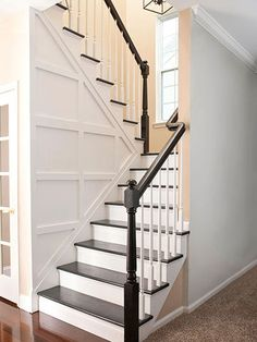 Faux Paneling AND how to rip carpet out and turn ugly MDF stairs into white and wood looking stairs