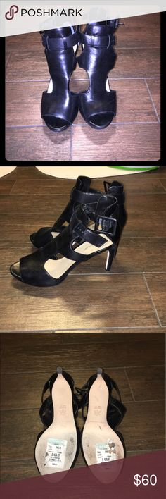 Black strappy heel Super cute Via Spiga heel, buckles at ankle. Only worn 2 times. They were too small for me. Paid $130 from Nordstrom Rack. Via Spiga Shoes Heels