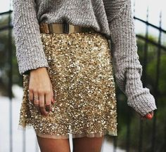 All she's missing is a great set of Sarah Briggs #bangles  Shop sincerelypaigeonline.com for handmade designer jewelry and more!  #goldchain #shimmer #love #winter #fall #sweater #fashionblogger