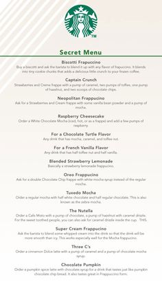 oh em gee, secret menu at starbucks?! this i need to try... need to try the nutella and the raspberry cheesecake! :D