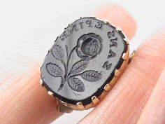 Antique Georgian Gold cased Intaglio Seal ROSE WITHOUT THORNS Flower