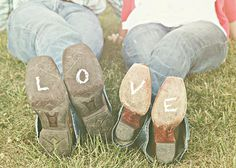 LOVE written on the bottom of our boots with chalk... Such a good idea bc you can actually write it on there ( not edit it on there with photoshop ) and it will just wipe off or eventually wear off... Although I wouldn't mind if it was permanent