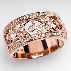 eBay Estate Jewelry | ... -Genuine-Diamond-Ring-Floral-Motif-Solid-14K-Rose-Gold-Estate-Jewelry