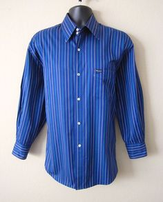 FACONNABLE Mens Large Blue Green Tan Striped Button Front Long Sleeve Shirt #Faonnable #ButtonFront  Please visit J and S Menswear for more exciting deals on men's fashions!