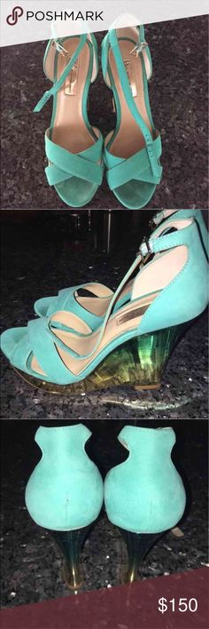 INC wedges ombré Retail $196  Worn only once, in great condition no signs of wear! Beautiful mint color faux suede wedges with an ombré on the bottom INC International Concepts Shoes Wedges