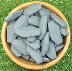 Geo Leaf Silicone Bead 5pk - Dim Grey - Silicone Beads Australia™
