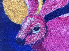 Fibre art hare free machine embroidery  by SueForeyfibreart