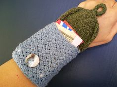 This little cozy cuff can carry your iPod or MP3, cash, key and leave you hands free while you are on the move. Going out for a fun evening and just want to carry the essentials? This would be perfect for you. The cuff pocket is knitted from yarn that is a mix of cotton and elastic, so that
