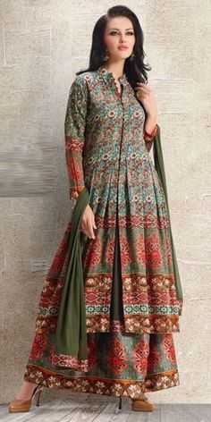 Delicate Green And Multi-Color Anarkali Suit.