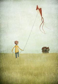 Kite runner Illustration print size 7 x 5 by majalin on Etsy