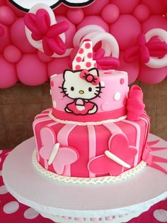 Incredible cake at a Hello Kitty party!  See more party ideas at CatchMyParty.com!