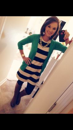 Stitch Fix work fashion. Business casual outfit. Black and white striped dress, pop of color cardigan, tights and boots
