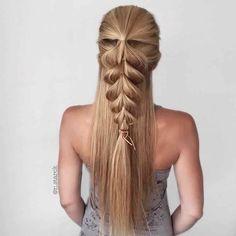 Вариант плетения косы при помощи резиночек для волос