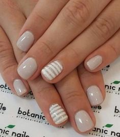 neutral nails with accent - neutral nails . neutral nails with sparkle . neutral nails with accent . neutral nails for pale skin . Short Nail Designs, Gel Nail Designs, Cute Nail Designs, Striped Nail Designs, Neutral Nail Designs, Striped Nails, Nails Design, Nails With Stripes, Stripe Nail Art