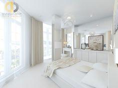 Дизайн белой спальни с панорамными окнами