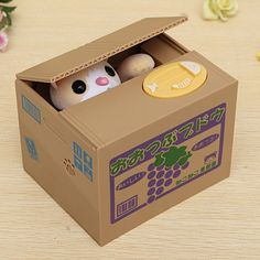Hot Sale Fashion Cute Funny Lovely Novelty Little Animal Steal Coins Piggy Bank Cent Saving  Box Pot Case For Gift Decor