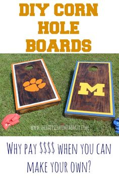 Football Season Means Cornhole Season -- Make your own with this DIY Tutorial! | Tutorial on thehappierhomemaker.com #Clemson #MichiganStateUniversity