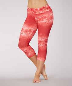 Look what I found on #zulily! Chinese Red Flower Brigade Capri Leggings by Balance Collection #zulilyfinds