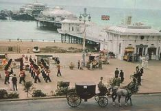 Postcard of a scene from 'Oh! What a Lovely War' set in August 1914. Printed on reverse of postcard: West Pier, Brighton, Sussex during the filming of 'Oh! What a Lovely War'.  From a private collection