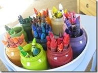 """baby food jars + paint = great crayon organizer!    This link takes you to a LOT of """"classroom organizers"""". Clever uses for """"junk""""!"""