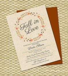 fall in love bridal shower invitation bridal shower invite orange burgundy rustic fall wreath fall leaves fall bridal shower any event