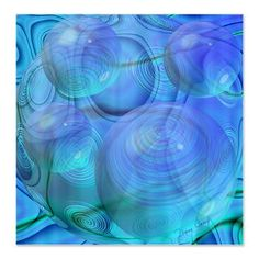 Inner Flow VI Azure Spheres Shower Curtain--Abstract Fractal Aqua & Azure Galaxy; bubbles float effortlessly across imaginative realm. Deep within cosmos, big cyan turquoise bubble fills a corner of the heavens. Circles, contours & curves flow. #showercurtain