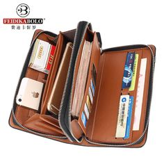 Business Men Double Zipper Leather Wallet //Super Sale: $22.00 & FREE Shipping Worldwide!//     #ChicBay.com
