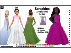 The Sims 4 Seraphina -A Formal Gown for Girls- by Sims 4 Wedding Dress, The Sims 4 Bebes, Sims 4 Cc Kids Clothing, Children Clothing, Girl Clothing, Toddler Flower Girl Dresses, Baby Dresses, Toddler Dress, The Sims 4 Cabelos