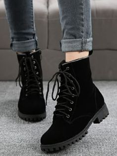 Black Lace Up Suedette Chunky Ankle Boots size 7 Black Lace Boots, Lace Up Ankle Boots, Black Booties, Shoe Boots, Black Laces, Black Suede, Rain Boots, Sneakers Fashion, Fashion Shoes