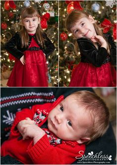 The Best Christmas Present Ever! - Lake Wylie, SC Child & Newborn Photography - family Christmas photo session in front of Christmas tree, little girl in Christmas dress, baby boy in Christmas sweater