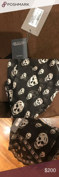 Alexander McQueen silk scarf. 100% authentic Black and white silk with skull printing all over. Alexander McQueen Accessories Scarves & Wraps