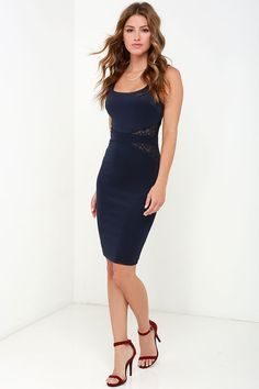 By My Side Navy Blue Lace Midi Dress at Lulus.com!