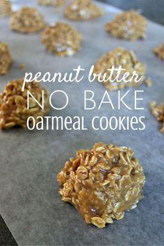 There is nothing better than no bake oatmeal cookies. They're easy to make with kids and you can lick the bowl! There is nothing better than no bake oatmeal cookies. They're easy to make with kids and you can lick the bowl! Köstliche Desserts, Delicious Desserts, Dessert Recipes, Yummy Food, Plated Desserts, Fun Food, Peanut Butter No Bake, Peanut Butter Recipes, Baked Oatmeal