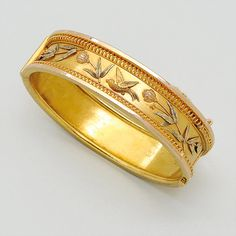 -Antique Gold Bangle Bracelet, The wide oval hinged hoop embellished with a bird in flight amongst flowers and wirework details; inner circumference 6 ins. Victorian or Victorian style. Gold Bangles Design, Gold Earrings Designs, Gold Jewellery Design, Gold Jewelry, India Jewelry, Gold Necklaces, Jewelry Rings, Fine Jewelry, 14k Gold Bangle Bracelet