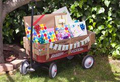 presents in a wagon