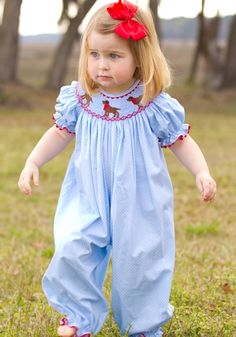 Hand smocked Chocolate Lab Bubble for Girls. Would be great for fall or spring !
