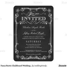 Fancy Rustic Chalkboard Wedding Invitations