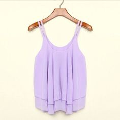 Fashion Women Summer Tank Tops Casual Chiffon Double Layer Sleeveless Loose Solid Crop Top Plus Size S-4XL