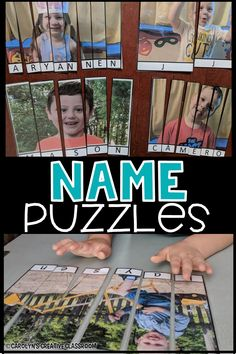 Practice name with this FUN and exciting name puzzles! They are editable so you can add all of your students pictures. Change pictures to make it fun and engaging! Preschool Name Recognition, Preschool Names, Pre K Activities, Preschool Letters, Kindergarten Literacy, Early Literacy, Preschool Classroom, Classroom Activities, Beginning Of The School Year