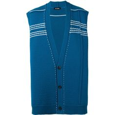 Raf Simons oversized knitted cardigan (€990) ❤ liked on Polyvore featuring men's fashion, men's clothing, men's sweaters, blue, mens woolen sweaters, mens blue sweater, mens deep v neck sweater, mens oversized sweaters and mens oversized cardigan sweater