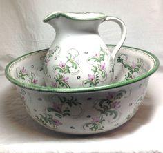 Vintage Rare Decorative Berkshire Studio Pottery Pitcher and Basin Washing Set
