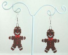 Gingerbread Man Beaded Earrings Christmas Jewelry by LazyRose