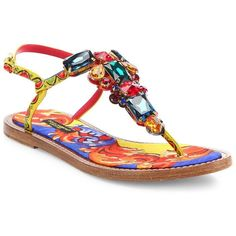 Dolce & Gabbana Jeweled Thong Sandals ($1,150) ❤ liked on Polyvore featuring shoes, sandals, apparel & accessories, multi, ankle strap thong sandals, toe post sandals, padded sandals, ankle wrap flat sandals and jewel sandals