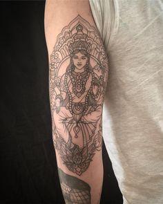 Lakshmi today on Miguel #tattoo #blacktattoo #btattooing #blackworkerssubmission #mehndi #mehnditattoo #mandala #mandalatattoo #lineart #tattooart #art #design #domholmestattoo #theblacklotusstudio #iblackwork #instaart