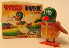 Vintage Kanto Toys Japan Tin Wind Up Dilly Duck