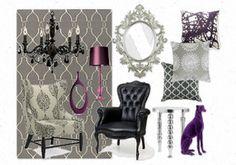 black,gray and purple wing chair