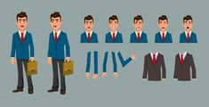 Businessman Cartoon Character For Motion Design And Animation - Trend Character Design Feminino 2019 Character Flat Design, Character Model Sheet, Boy Character, Character Modeling, Avatar Characters, Cartoon Characters, Motion Design, Red Checkered Shirt, Character Template
