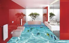 I WANT this floor. love whole bath though a different color than red. Maybe green or blue, even yellow? 10 Amazing Ideas For 3D Liquid Bathroom Designs - Top Inspirations